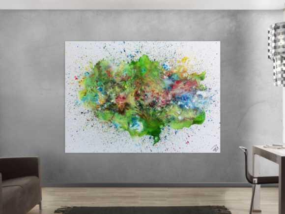 Sehr buntes abstraktes Gemälde modernes Acrylbild explosion der ... 150x200cm