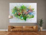 Sehr buntes abstraktes Gemälde modernes Acrylbild explosion der Farben