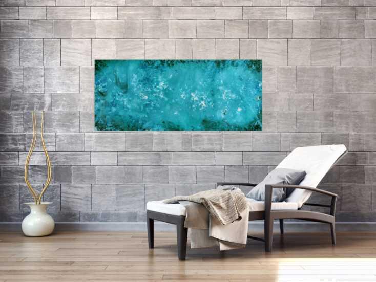 #841 Abstraktes Gemälde in türkis modernes Acrylbild schlicht 60x140cm von Alex Zerr