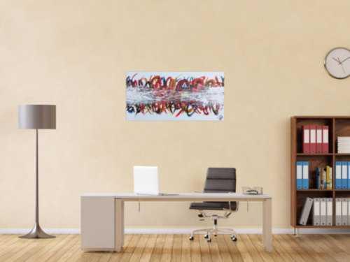 Modernes Gemälde abstrakt bunte Streifen auf weißem Hintergrund