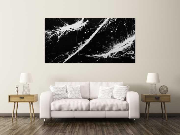 #843 Abstraktes Gemälde minimalistisch sehr modern dunkles anthrazit ... 100x200cm von Alex Zerr