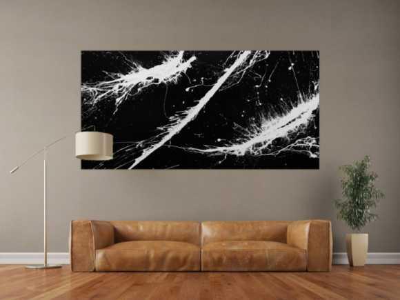 Abstraktes Gemälde minimalistisch sehr modern dunkles anthrazit schwarz weiß Action Painting