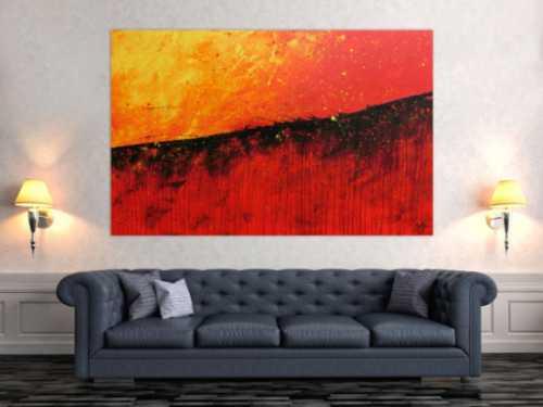 Abstraktes Acrylbild modernes Gemälde in rot orange und gelb
