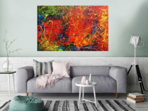 Abstraktes Acrylbild modern sehr bunt viele Farben zeitgenössisch