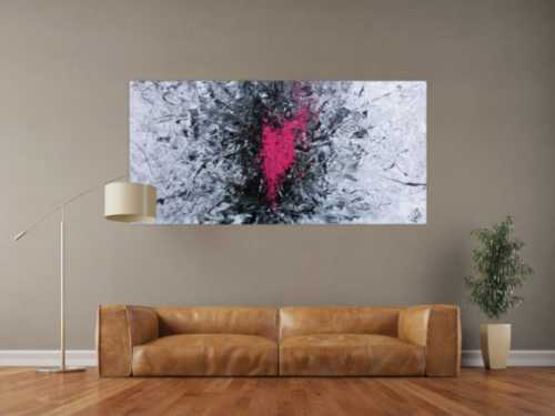 Modernes Acrylbild sehr abstrakt in grau schwarz und pink
