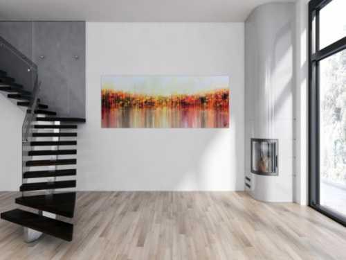 Abstraktes Acrylgemälde sehr modern in warmen Farben orange gelb weiß