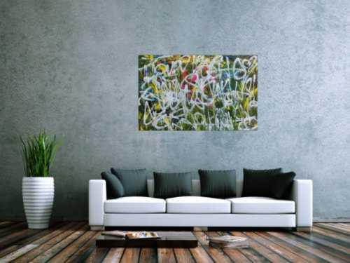 Abstraktes Acrylgemälde Graffiti Tags modern zeitgenössisch bunt und weiß