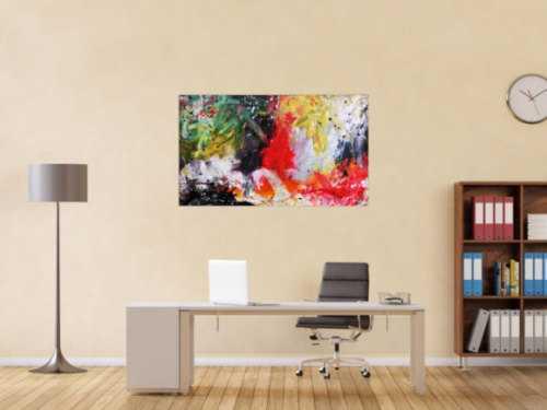 Sehr buntes abstraktes Acrylgemälde modern in vielen Farben