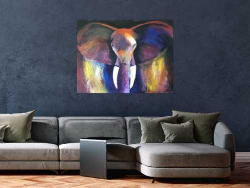 Abstraktes Acrylbild Elefant bunt