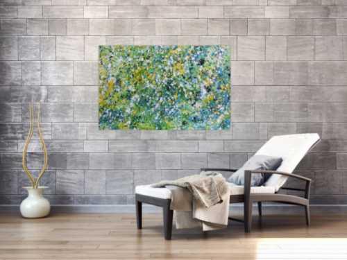 Sehr modernes Acrylgemälde abstrakt in türkis gelb weiß