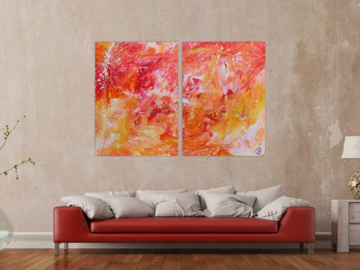 modernes abstraktes gem lde aus acryl zwei teile helle farben orange gelb wei auf leinwand. Black Bedroom Furniture Sets. Home Design Ideas
