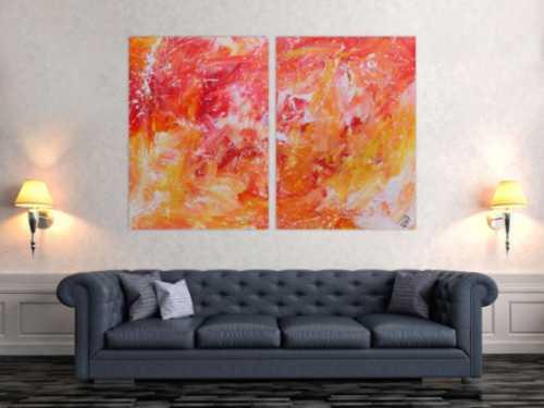 Modernes abstraktes Gemälde aus Acryl zwei Teile helle Farben orange gelb weiß