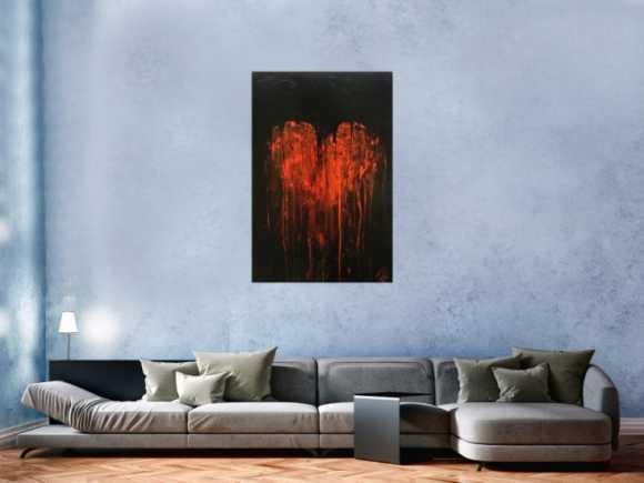 Abstraktes Gemälde schwarz mit rotem Herz sehr modern zeitgenössisch minimalistisch