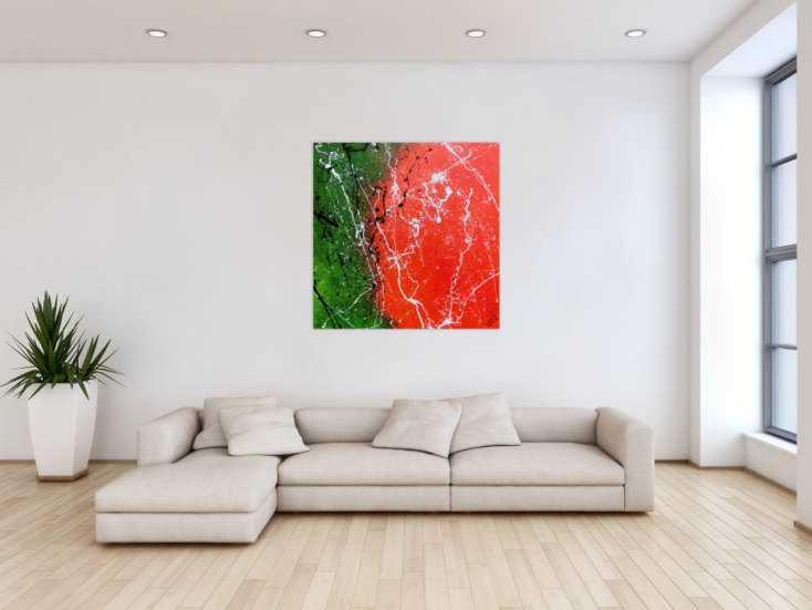 #853 Abstraktes Acrylbild modernes Gemälde in grün und orange ... 100x100cm von Alex Zerr