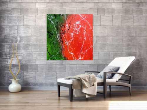 Abstraktes Acrylbild modernes Gemälde in grün und orange zeitgenössisch
