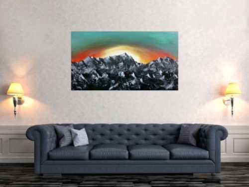 Abstakres Gemälde Berge Alpenkette Zugspitze Sonnenaufgang
