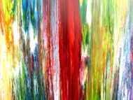 Detailaufnahme Buntes abstraktes Acrylbild modernes Gemälde viele Farben sehr bunt