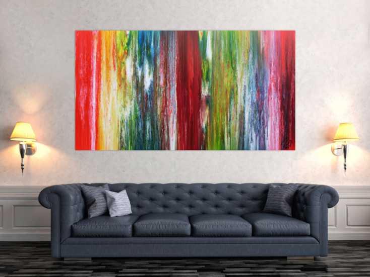 buntes abstraktes acrylbild modernes gem lde viele farben sehr bunt auf leinwand 100x180cm. Black Bedroom Furniture Sets. Home Design Ideas