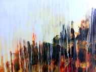 Detailaufnahme Abstraktes Gemälde mediterrane Farben modern orange gelb anthrazit