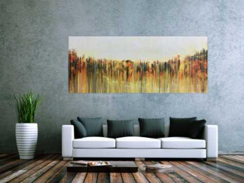 Abstraktes Gemälde mediterrane Farben modern orange gelb anthrazit