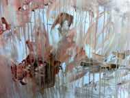 Detailaufnahme Modernes Gemälde abstrakt mediterran weiß beige braun