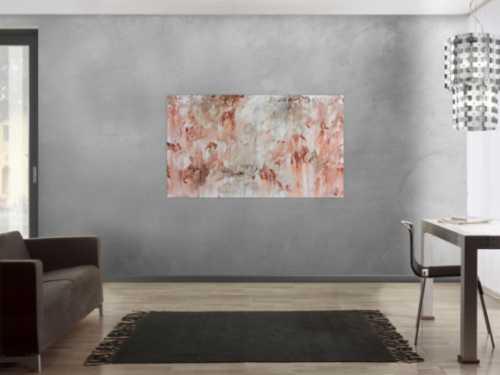 Modernes Gemälde abstrakt mediterran weiß beige braun