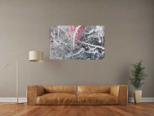 Abstrktes Gemälde in grau weiß rot moderne Malerei Action Painting