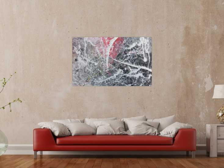 abstrktes gem lde in grau wei rot moderne malerei action painting auf leinwand 75x120cm. Black Bedroom Furniture Sets. Home Design Ideas