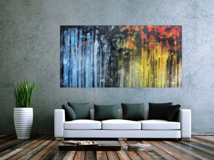 abstraktes gem lde sehr ausdrucksstark in blau gelb und schwarz auf leinwand 100x200cm. Black Bedroom Furniture Sets. Home Design Ideas