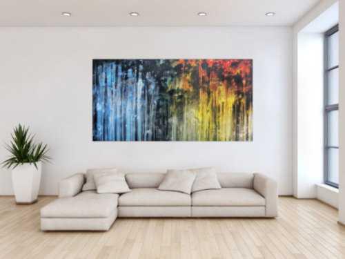 Abstraktes Gemälde sehr ausdrucksstark in blau gelb und schwarz