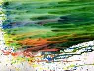 Detailaufnahme Abstraktes Acrylgemälde modern Fließtechnik grün türkis weiß