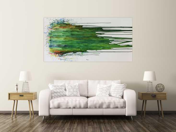 #861 Abstraktes Acrylgemälde modern Fließtechnik grün türkis weiß 100x200cm von Alex Zerr