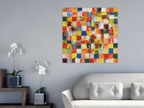 Buntes abstraktes Acrylbild bunte Kacheln modern farbenfroh