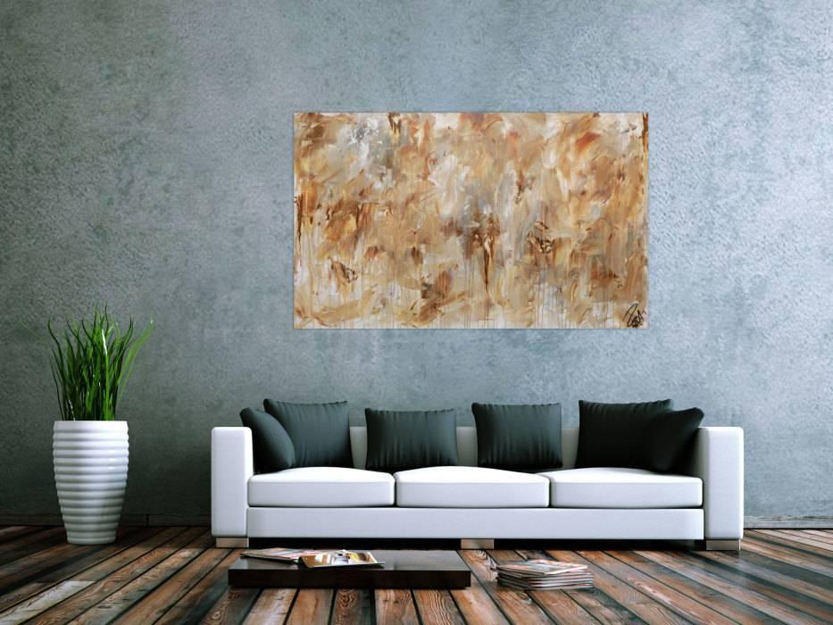 Abstraktes Gemälde Aus Acryl Modern Mediterane Farben Braun Grau ...