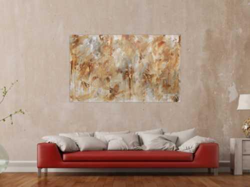 Abstraktes Gemälde aus Acryl modern mediterane Farben braun grau weiß