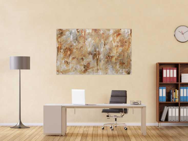 #863 Abstraktes Gemälde aus Acryl modern mediterane Farben braun grau ... 90x150cm von Alex Zerr
