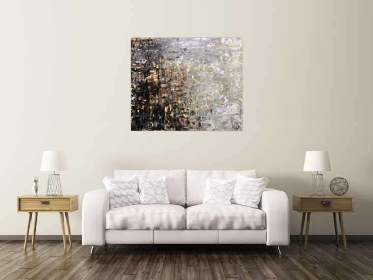 modernes gem lde abstrakt spachteltechnik modernes bild braun schwarz grau auf leinwand 100x120cm. Black Bedroom Furniture Sets. Home Design Ideas