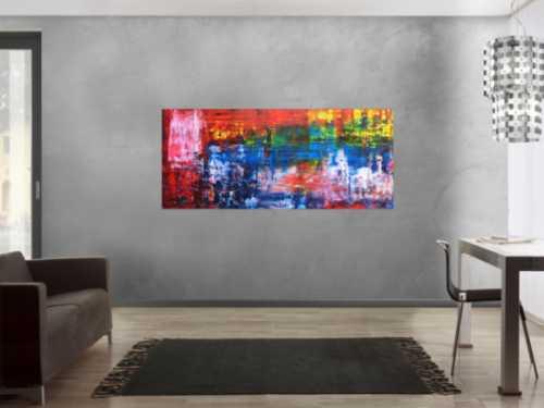 Abstraktes Gemälde bunt in Spachteltechnik modern viele Farben rot blau gelb