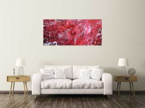Abstraktes Acrylgemälde modern rot rosa weiß schlicht