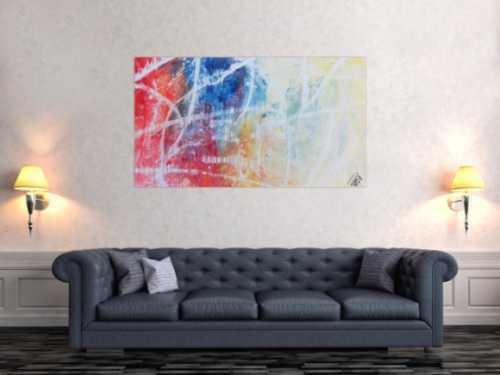 Modernes abstraktes Gemälde helle Farben bunt blau weiß rot gelb