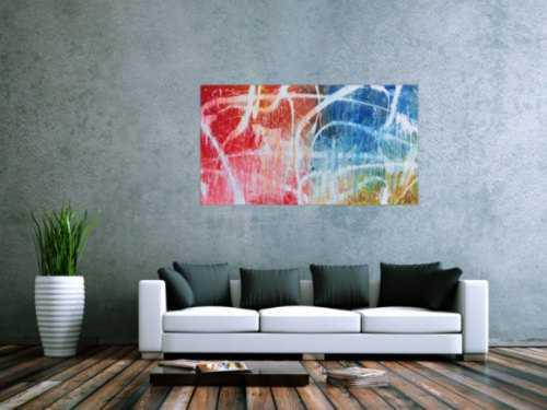 Abstraktes Acrylgemälde in hellen bunten Farben blau weiß rot gelb