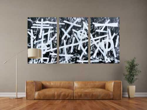 Abstraktes Gemälde schwarz weiß minimalistisch Triptychon drei Teile