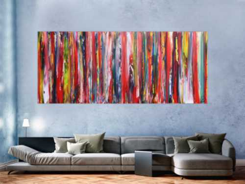 Sehr buntes Acrylbild farbige Streifen abstrakt modern zeitgenössisch