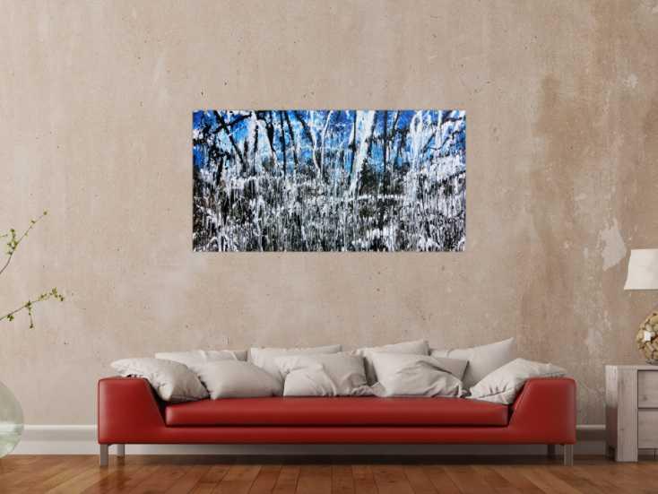 abstraktes acrylbild monders gem lde blau schwarz wei. Black Bedroom Furniture Sets. Home Design Ideas
