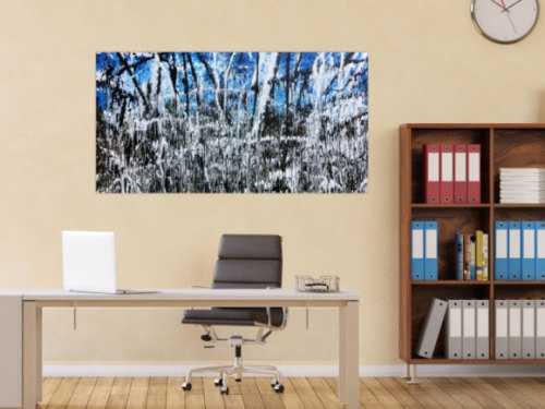 Abstraktes Acrylbild monders Gemälde blau schwarz weiß braun Acrtion Painting
