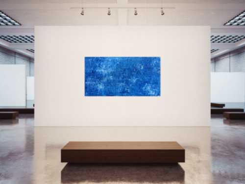 Abstraktes Acrylbild Gemälde blau weiß modern schlicht Spachteltechnik