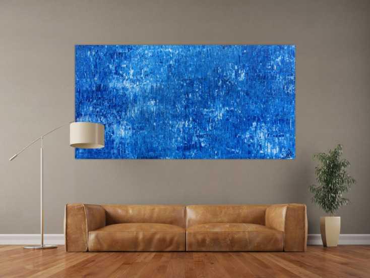 #872 Abstraktes Acrylbild Gemälde blau weiß modern schlicht ... 100x200cm von Alex Zerr