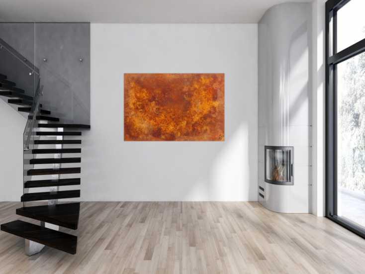 #873 Abstraktes Gemälde aus echtem Rost modernes Rostbild abstrakt orange ... 100x150cm von Alex Zerr
