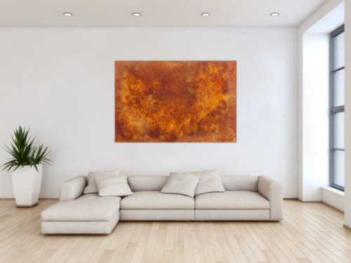 Abstraktes Gemälde aus echtem Rost modernes Rostbild abstrakt orange braun