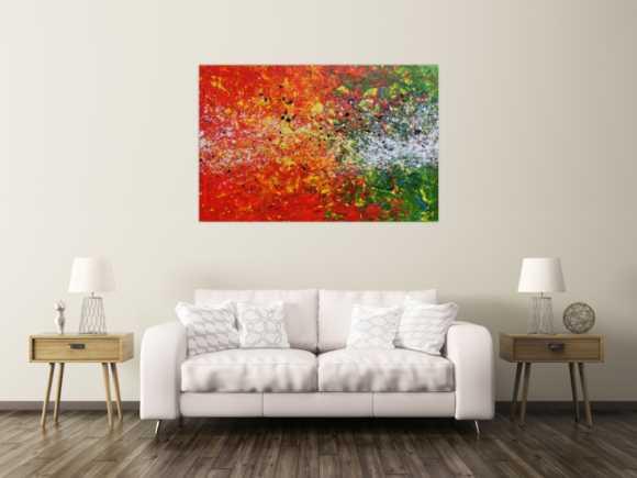 Modernes Acrylgemälde abstrakt orange grün weiß Splashstyle Action Painting